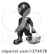 Clipart Of A 3d Black Man Carrying A Shopping Basket On A White Background Royalty Free Illustration
