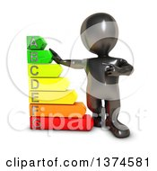 3d Black Man With A Giant Energy Rating Chart On A White Background