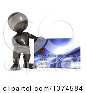 3d Black Man Presenting A Giant Credit Card On A White Background