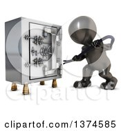 Poster, Art Print Of 3d Black Man Trying To Break Open A Safe Vault With A Crow Bar On A White Background