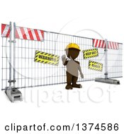 Clipart Of A 3d Brown Man At A Construction Barrier On A White Background Royalty Free Illustration