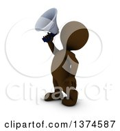 Clipart Of A 3d Brown Man Using A Megaphone On A White Background Royalty Free Illustration