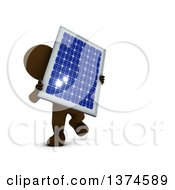 Clipart Of A 3d Brown Man Holding A Solar Panel On A White Background Royalty Free Illustration