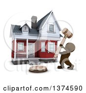 Clipart Of A 3d Brown Man Banging A Gavel In Front Of A Home For Auction On A White Background Royalty Free Illustration by KJ Pargeter