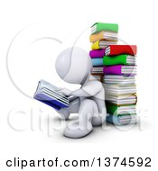 Clipart Of A 3d White Man Reading Sitting On The Floor And Leaning Back Against A Stack Of Books On A White Background Royalty Free Illustration
