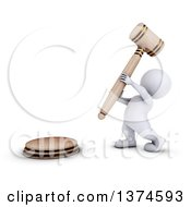 Clipart Of A 3d White Man Auctioneer Or Judge Banging A Giant Gavel On A White Background Royalty Free Illustration by KJ Pargeter