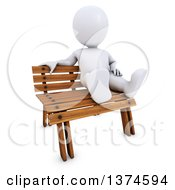Clipart Of A 3d White Man Sitting On A Park Bench On A White Background Royalty Free Illustration by KJ Pargeter