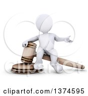 Clipart Of A 3d White Man Auctioneer Or Judge Sitting On A Giant Gavel On A White Background Royalty Free Illustration by KJ Pargeter