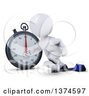 Clipart Of A 3d White Man Runner Taking Off On Starting Blocks By A Giant Stop Watch On A White Background Royalty Free Illustration by KJ Pargeter