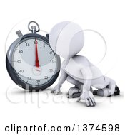 Clipart Of A 3d White Man Runner On Starting Blocks By A Giant Stop Watch On A White Background Royalty Free Illustration by KJ Pargeter