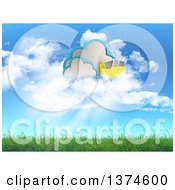 Clipart Of A 3d Cloud And Folder Storage Design Over Grass And Blue Sky Royalty Free Illustration
