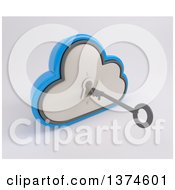 Clipart Of A 3d Silver And Blue Cloud Drive Icon With A Key And Hole On Off White Royalty Free Illustration