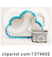 Clipart Of A 3d Cloud Icon With An Open Padlock On Shaded White Royalty Free Illustration