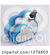 Clipart Of A 3d White HD CCTV Security Surveillance Camera Mounted On Cloud Icon With A Filing Cabinet On Off White Royalty Free Illustration