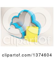 Clipart Of A 3d Cloud Icon With A Folder On Off White Royalty Free Illustration