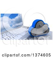 Clipart Of A 3d Cloud Drive Safe Vault Icon Resting On A Laptop Computer With A Sky Screen Saver On White Royalty Free Illustration