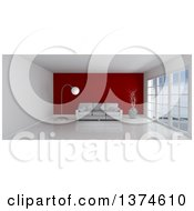 3d White Room Interior With Floor To Ceiling Windows A Red Feature Wall And Furniture