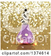 Clipart Of A 3d Purple Floral Perfume Bottle Over Gold Glitter Royalty Free Illustration