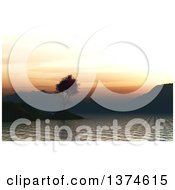 Clipart Of A 3d Silhouetted Japanese Maple On An Island In A Bay At Sunset Royalty Free Illustration by KJ Pargeter