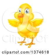 Clipart Of A Cute Yellow Easter Chick Facing Slightly Left And Flapping Its Wings Royalty Free Vector Illustration