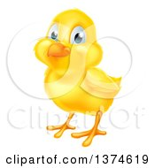 Clipart Of A Cute Yellow Easter Chick Royalty Free Vector Illustration