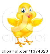 Clipart Of A Cute Yellow Easter Chick Facing Slightly Right And Flapping Its Wings Royalty Free Vector Illustration
