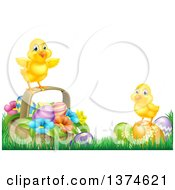Poster, Art Print Of Cute Yellow Chicks On Easter Eggs And A Basket In The Grass Over White Text Space