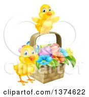 Clipart Of Cute Yellow Chicks With An Easter Basket Of Eggs And Flowers Royalty Free Vector Illustration by AtStockIllustration