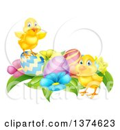 Clipart Of Cute Yellow Chicks With Easter Eggs And Flowers Royalty Free Vector Illustration