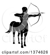 Clipart Of A Black And White Centaur Archer Aiming To The Right Royalty Free Vector Illustration