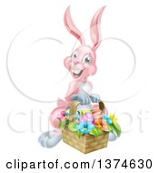 Clipart Of A Happy Pink Easter Bunny Rabbit With A Basket Of Eggs And Flowers Royalty Free Vector Illustration