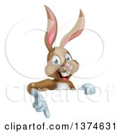 Clipart Of A Happy Brown Rabbit Pointing Down Over A Sign Royalty Free Vector Illustration