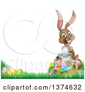 Clipart Of A Happy Brown Easter Bunny Rabbit With A Basket Of Eggs And Flowers In The Grass With White Text Space Royalty Free Vector Illustration