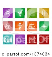 Clipart Of White Christian Icons On Colorful Tiles Royalty Free Vector Illustration