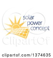 Clipart Of A Sun Shining Behind A Solar Panel Photovoltaics Cell And Sample Text Royalty Free Vector Illustration by AtStockIllustration