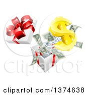 Clipart Of A 3d Gold Dollar Currency Symbol And Cash Money Popping Out Of A Gift Box Royalty Free Vector Illustration