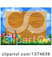 Clipart Of A Basket Of Flowers And Easter Eggs In Grass In Front Of A Blank Wood Sign With Blue Sky And Light Flares Royalty Free Vector Illustration by AtStockIllustration