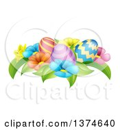 Clipart Of A Group Of 3d Colorful Spring Flowers And Patterned Easter Eggs Royalty Free Vector Illustration