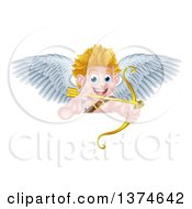 Clipart Of A Happy Blond Caucasian Valentines Day Cupid Aiming A Gold Heart Arrow With His Bow Over A Sign Royalty Free Vector Illustration by AtStockIllustration