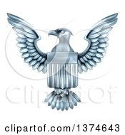 Clipart Of A Flying Silver American Flag Bald Eagle With A Shield Royalty Free Vector Illustration