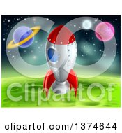 Clipart Of A Space Rocket Resting On A Green Planet Royalty Free Vector Illustration