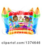 Clipart Of A Cartoon Happy Black Boy And Girl Jumping On A Bouncy House Castle At A Party Royalty Free Vector Illustration by AtStockIllustration