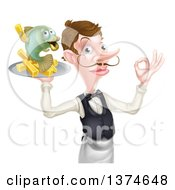 White Male Waiter With A Curling Mustache Holding Fish And A French Fry Character On A Tray And Gesturing Okay
