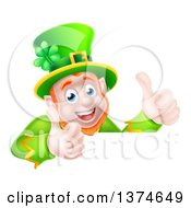 Happy St Patricks Day Leprechaun Giving Two Thumbs Up Over A Sign