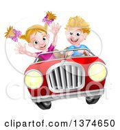Clipart Of A Blond White Boy Driving A Girl In A Red Convertible Car Catching Air Royalty Free Vector Illustration by AtStockIllustration