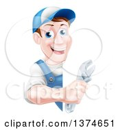 Clipart Of A Happy Middle Aged Brunette Caucasian Mechanic Man In Blue Wearing A Baseball Cap Holding An Adjustable Wrench Around A Sign Royalty Free Vector Illustration