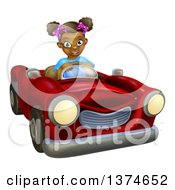 Clipart Of A Happy Black Girl Driving A Red Convertible Car Royalty Free Vector Illustration by AtStockIllustration