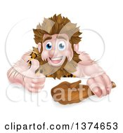Clipart Of A Cartoon Muscular Happy Caveman Holding A Club And Giving A Thumb Up Over A Sign Royalty Free Vector Illustration by AtStockIllustration