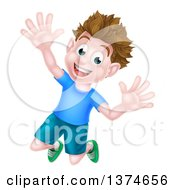Clipart Of A Happy Brunette White Boy Jumping With Excitement And Joy Royalty Free Vector Illustration