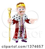 Clipart Of A Brunette White King Holding A Scepter And Pointing To The Right Royalty Free Vector Illustration